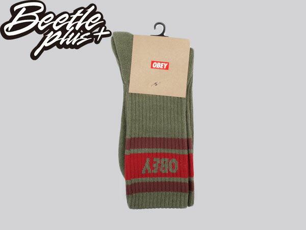 BEETLE PLUS 西門町經銷 全新 美國品牌 OBEY COOPER SOCKS LOGO OLD SCHOOL 墨綠 紅 經典款 中長筒襪 100260003HO3 OB-151 0