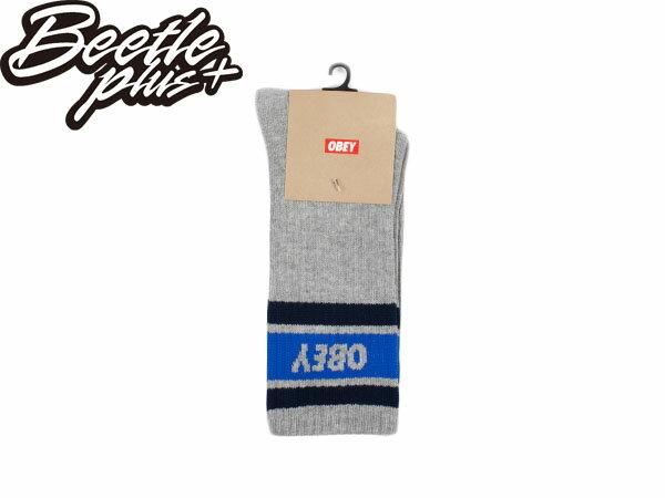 BEETLE PLUS 西門町經銷 全新 美國品牌 OBEY COOPER SOCKS LOGO OLD SCHOOL 灰深藍 經典款 中長筒襪 100260003LHY 0