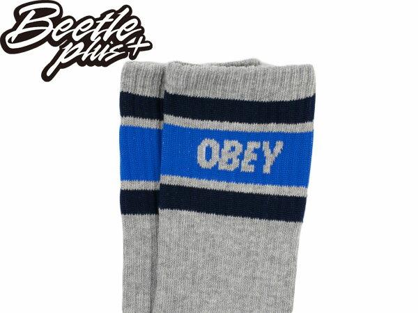 BEETLE PLUS 西門町經銷 全新 美國品牌 OBEY COOPER SOCKS LOGO OLD SCHOOL 灰深藍 經典款 中長筒襪 100260003LHY 2