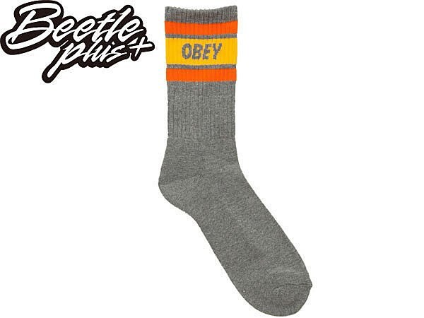BEETLE PLUS 美國品牌 OBEY COOPER SOCKS LOGO 灰 橘 黃 經典款 中長筒襪 100260003AGM OB-221 0