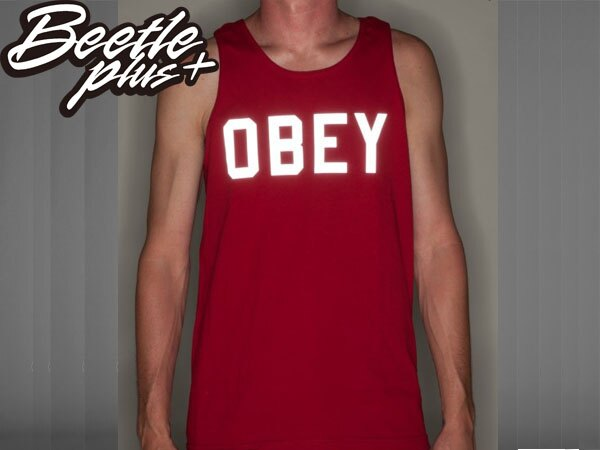 BEETLE PLUS 西門町經銷 全新 美國品牌 OBEY COLLEGIATE REFLECTIVE 3M TANK 文字 反光 酒紅 美式 背心 163070825CAR OB-210 1