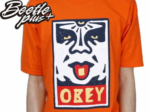 BEETLE PLUS 西門町經銷 全新 美國品牌 OBEY MEGA DOSE LOGO 亮橘 人臉彩繪塗鴉 NBA SUPREME 163080368ORG OB-190 1