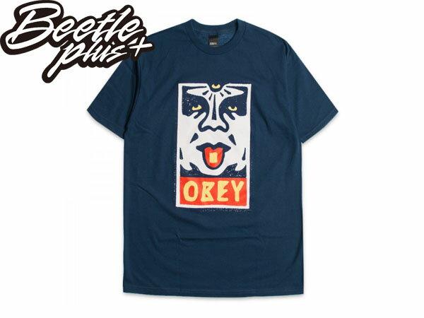 BEETLE PLUS 西門町經銷 全新 美國品牌 OBEY MEGA DOSE LOGO 深藍 人臉彩繪塗鴉 NBA SUPREME NEW ERA 163080368PTB OB-184