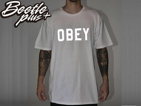 BEETLE PLUS 西門町經銷 全新 美國品牌 COLLEGIATE OBEY REFLECTIVE 3M 文字 反光 LOGO 白灰 美式 短TEE 163080825WHT OB-216 1