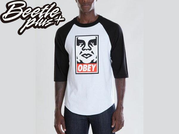 BEETLE PLUS 西門町經銷 全新 美國品牌 OBEY ICON FACE LOGO 人臉 文字 白黑 七分袖 TEE 333040083BLK OB-55 - 限時優惠好康折扣