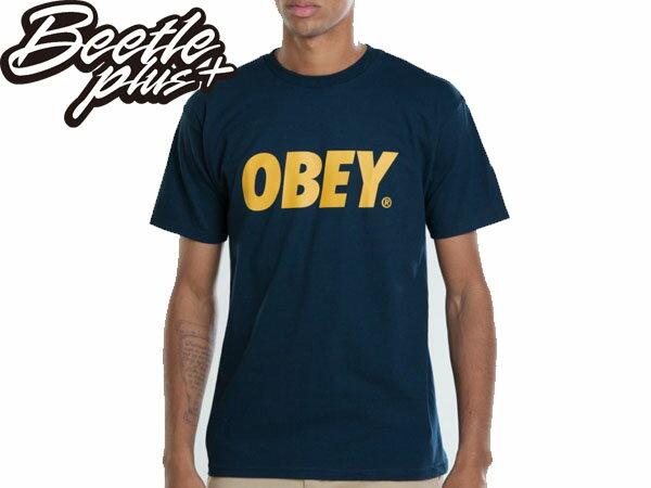 BEETLE PLUS 西門町經銷 全新 美國品牌 OBEY FONT TEE LOGO NAVY 深藍 金黃 MISHKA OBEY NEW ERA 333080029NGD OB-138 - 限時優惠好康折扣