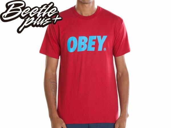 BEETLE PLUS 西門町經銷  美國品牌 OBEY FONT TEE LOGO 紅