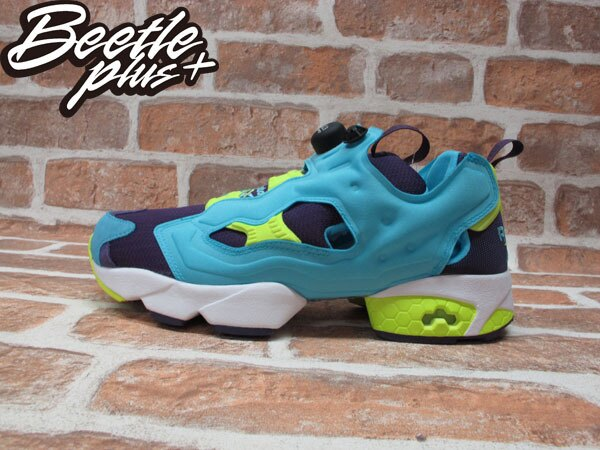 BEETLE REEBOK INSTA PUMP FURY OG 水藍 藍紫 螢光黃 毛怪 怪獸大學 充氣 慢跑鞋 M46892