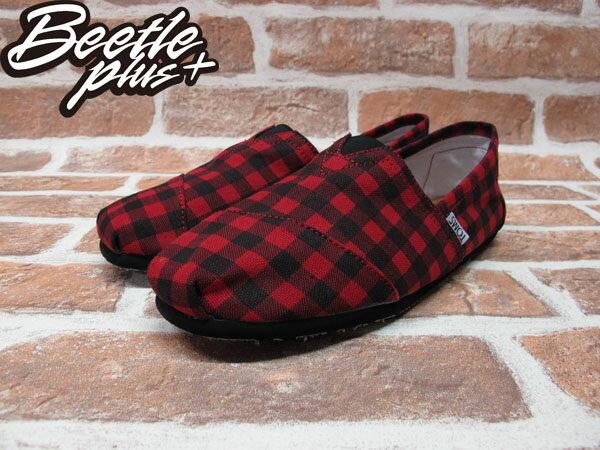 BEETLE PLUS 全新 TOMS CLASSICS RED BLACK CHECKERS 黑紅 蘇格蘭紋 帆布鞋 平底鞋 男鞋 TOMS-014 1