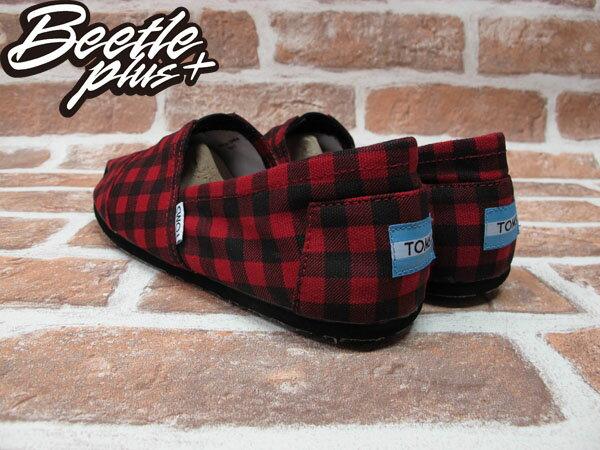 BEETLE PLUS 全新 TOMS CLASSICS RED BLACK CHECKERS 黑紅 蘇格蘭紋 帆布鞋 平底鞋 男鞋 TOMS-014 2
