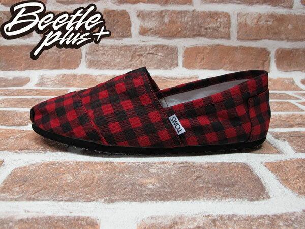 BEETLE PLUS 全新 TOMS CLASSICS RED BLACK CHECKERS 黑紅 蘇格蘭紋 帆布鞋 平底鞋 男鞋 TOMS-014 0