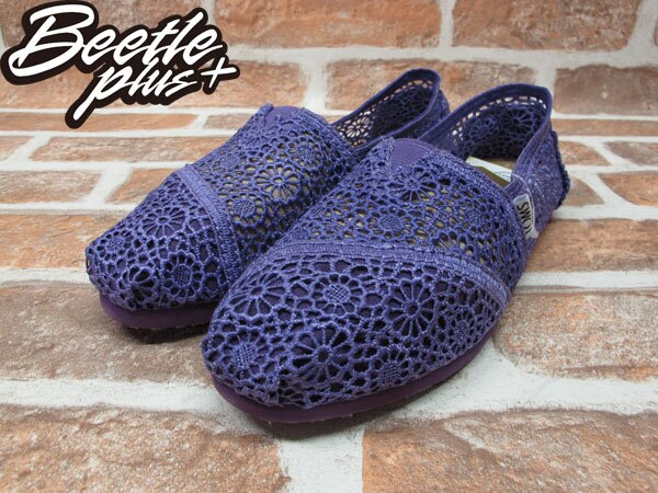 BEETLE PLUS 全新 TOMS CLASSICS PURPLE CROCHET WOMEN 女鞋 雕花 紫 平底 帆布鞋 001096B13-PUR TOMS-02 1