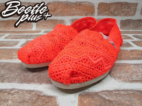 BEETLE PLUS 全新 TOMS CLASSICS NEON CORAL CROCHET WOMEN 女鞋 雕花 橘 平底 帆布鞋 TOMS-016 1