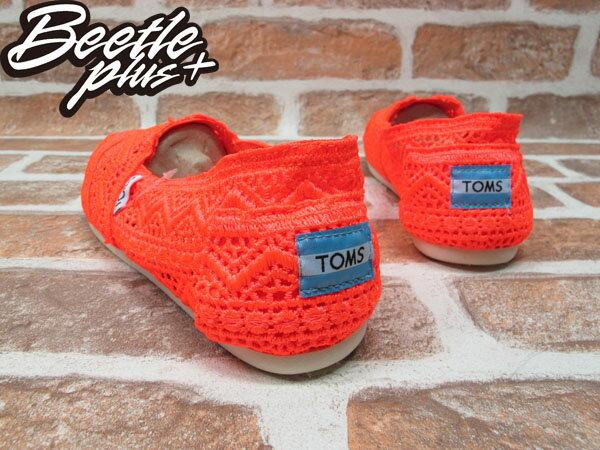 BEETLE PLUS 全新 TOMS CLASSICS NEON CORAL CROCHET WOMEN 女鞋 雕花 橘 平底 帆布鞋 TOMS-016 2