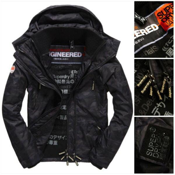 [男款]英國名品代購 極度乾燥 Superdry Arctic Wind Attacke男士防水防風戶外休閒外套夾克風衣 迷彩黑