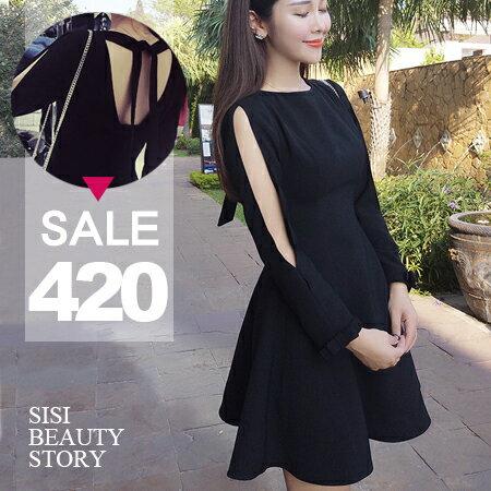 SISI【D6039】圓領高腰鏤空露背綁帶長袖A字縮腰傘襬連身裙洋裝空氣感長袖荷葉裙小禮服