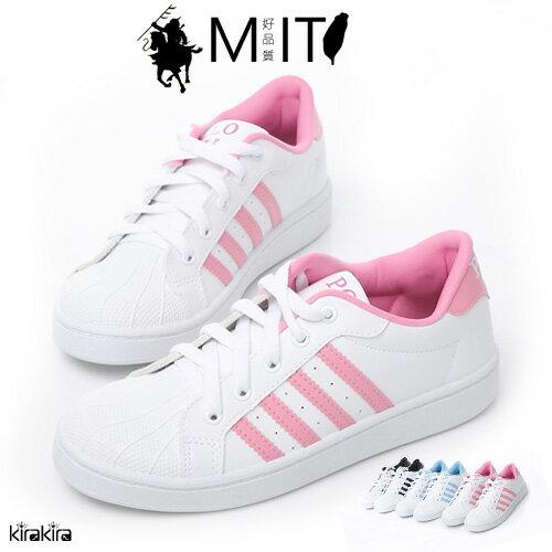 MIT運動鞋-POLO四線綁帶白底休閒鞋