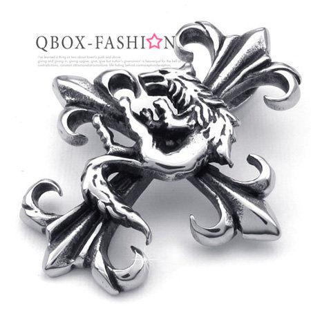 《 QBOX 》FASHION 飾品【W10022544】精緻個性狼圖騰十字架鑄造316L鈦鋼墬子項鍊