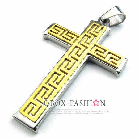 《 QBOX 》FASHION 飾品【W10022755】精緻個性金色能量圖紋十字架316L鈦鋼墬子項鍊