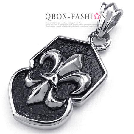 《 QBOX 》FASHION 飾品【W10023418】精緻個性盾面克羅心十字架鑄造316L鈦鋼墬子項鍊
