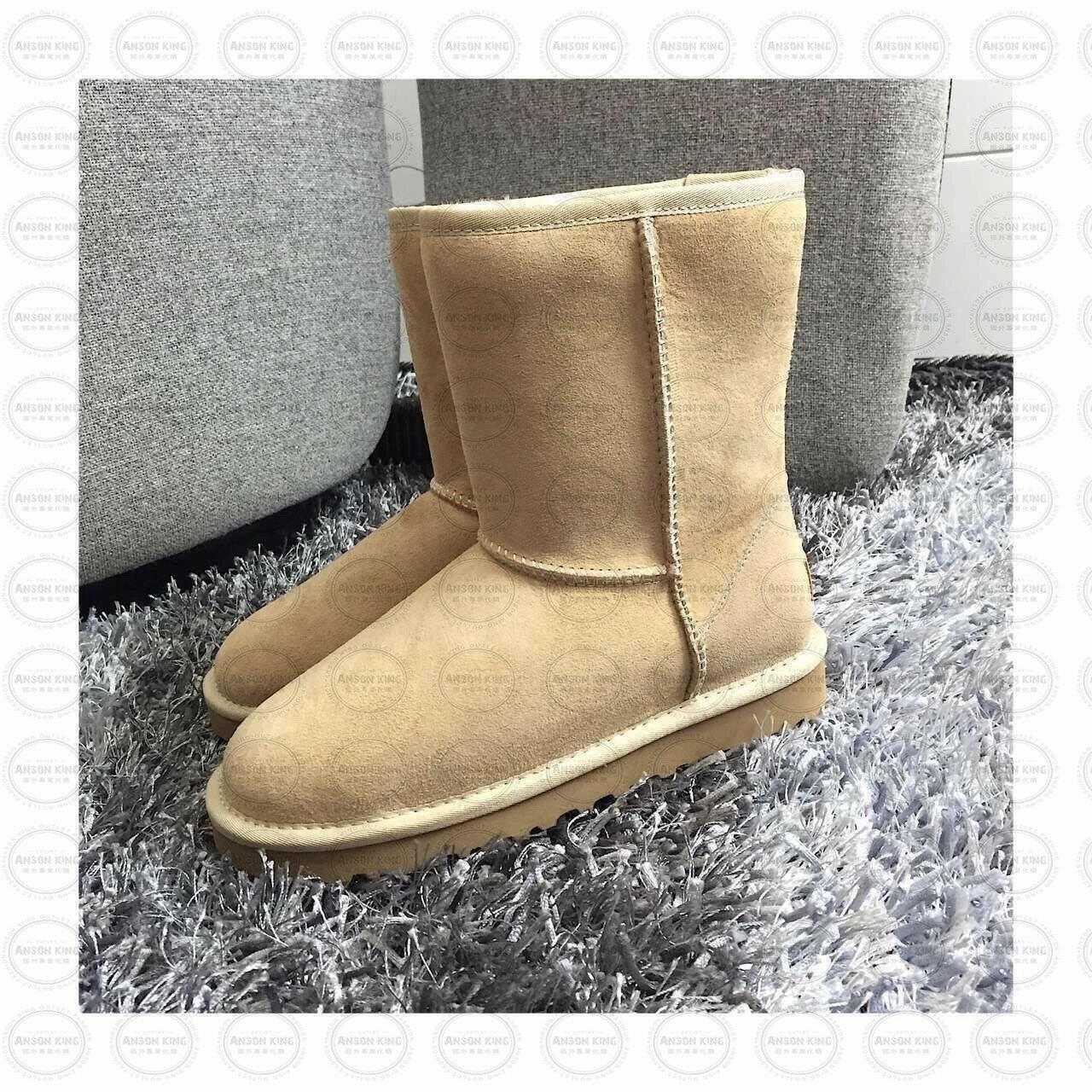 OUTLET正品代購 澳洲 UGG 經典女款羊皮毛一體雪靴 短靴 保暖 真皮羊皮毛 雪靴 短靴 沙色 0