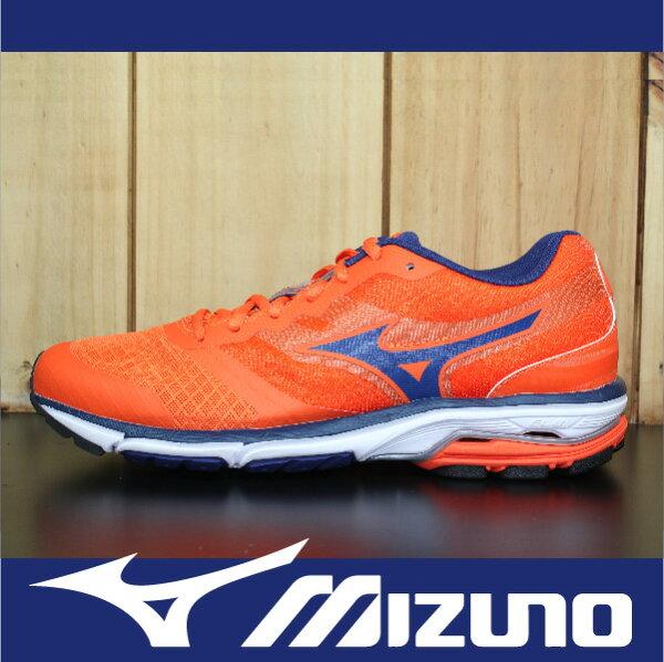 萬特戶外運動-MIZUNO美津濃 J1GE152117 WAVE UNITUS DC 慢跑鞋 路跑 輕量 亮橘 男款