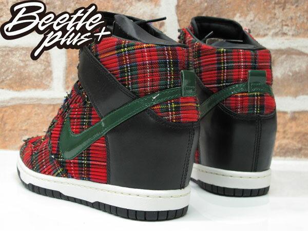 BEETLE PLUS NIKE WMNS DUNK SKY HI CITY FW QS LONDON 紅綠 格紋 楔形 內增高 女鞋 598216-001 2