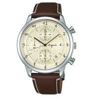 agnès b.到agnes b VD57-00A0C(BM3004J1) 法式時尚計時腕錶/米白面40mm