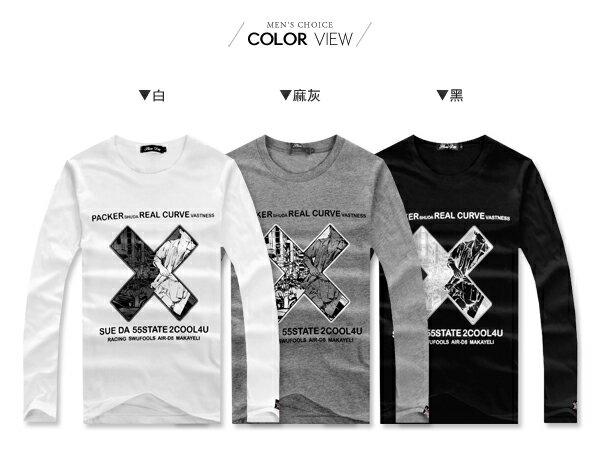 ☆BOY-2☆【NR73956】十字漫畫長袖T恤 1