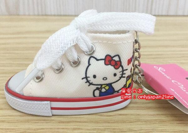 【真愛日本】16060100007 迷你帆布鞋鎖圈-KT坐姿藍衣     三麗鷗 Hello Kitty 凱蒂貓   鑰匙圈 鎖圈 吊飾