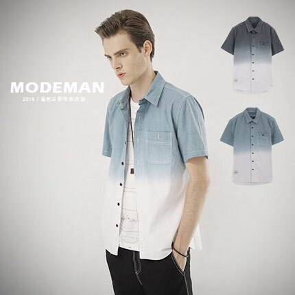 【MODE MAN】質感配色漸層造型牛仔短袖襯衫