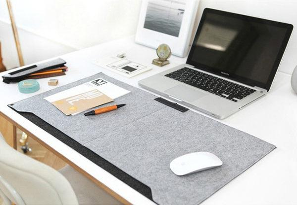 韓國文具 納彩簡約柔軟雙層雙色毛毯桌墊 電腦桌墊多功能桌墊NB墊【庫奇小舖】