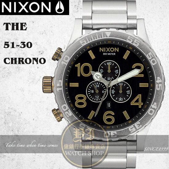 NIXON 實體店The 51-30 Chrono潛水腕錶BLACK / BRASS A083-2222公司貨/極限運動/禮物/衝浪