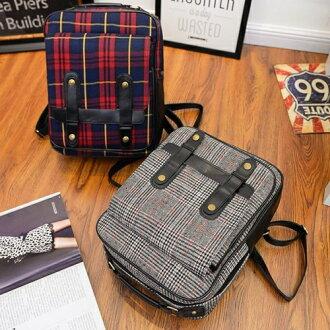 後背包-復古蘇格蘭格子學院風後背包 包飾衣院 P1515 現貨