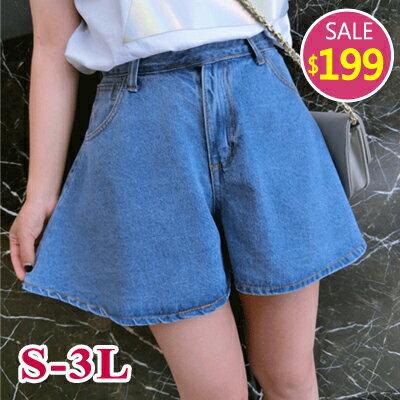 BOBO小中大尺碼【005】中腰牛仔短褲裙-S-3L-共2色
