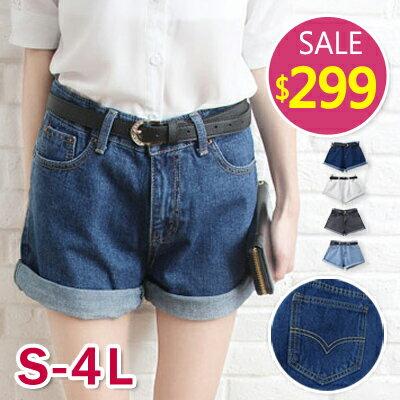 BOBO小中大尺碼【1520】中腰寬版弧線附皮帶牛仔短褲-共3色-S-3L 0