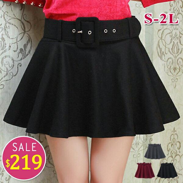 BOBO小中大尺碼【6210】中腰鬆緊磨毛附皮帶褲裙-S-2L-共3色 0