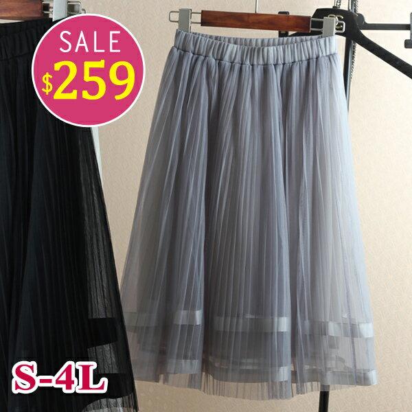 BOBO小中大尺碼【6611】及膝下擺緞帶紗裙蓬蓬裙-S-4L-共3色 0