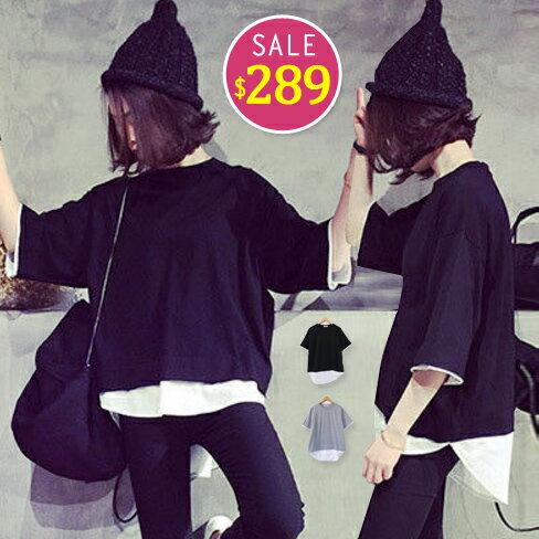 BOBO小中大尺碼【7027】寬版假兩件短袖上衣-共2色 0