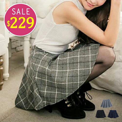 BOBO小中大尺碼【8381】中腰鬆緊磨毛格紋褲裙-S-XL-共3色 - 限時優惠好康折扣