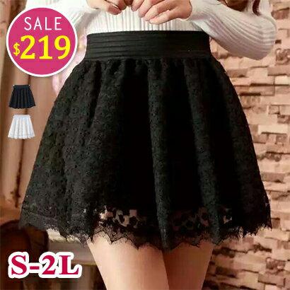 BOBO小中大尺碼【8893】中腰鬆緊蕾絲短裙-S-2L-共2色 0
