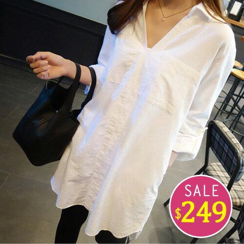 BOBO小中大尺碼【951】寬版絲質長版襯衫 0