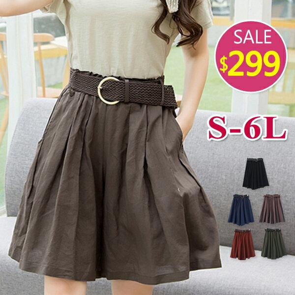 寬版鬆緊附皮帶褲裙-S-6L