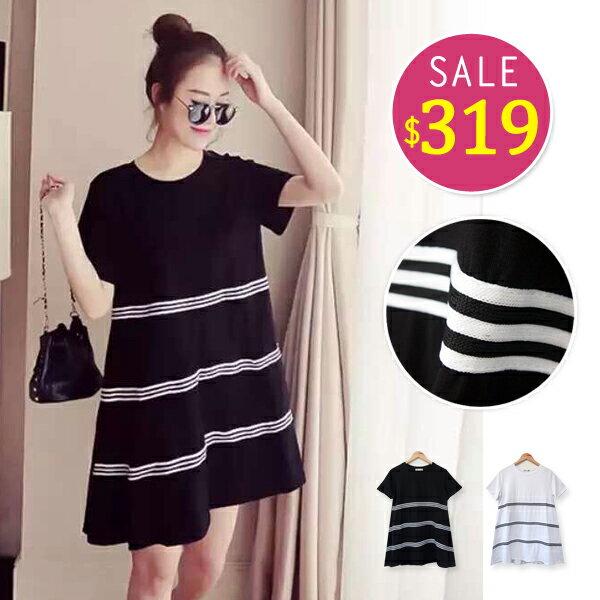 BOBO小中大尺碼【9913】寬版橫條短袖洋裝-共2色 0