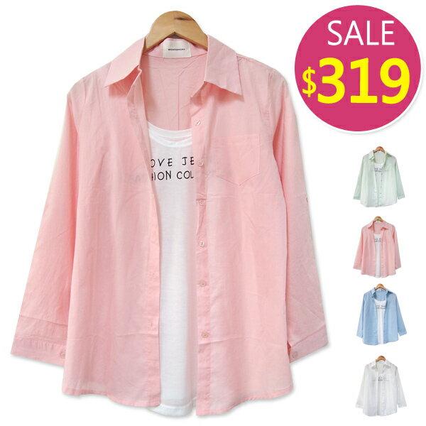 BOBO小中大尺碼【144】真二件式單口袋長版襯衫-共5色 - 限時優惠好康折扣