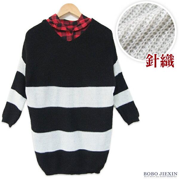 BOBO小中大尺碼【258-a】長版條紋針織長袖 - 限時優惠好康折扣
