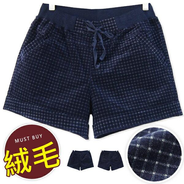 BOBO小中大尺碼【3905】中腰格紋綁帶絨毛短褲-M-5L 0