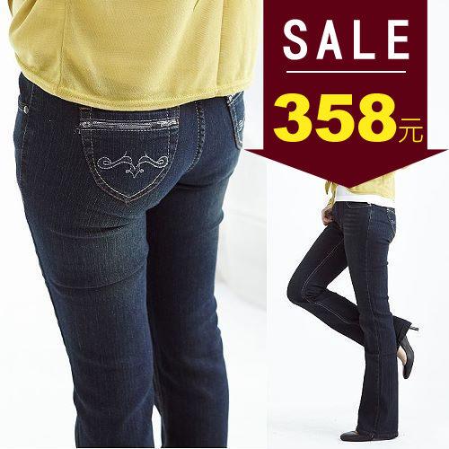 喇叭褲-BOBO小中大尺碼【57521】圖騰修身喇叭牛仔褲M~4L