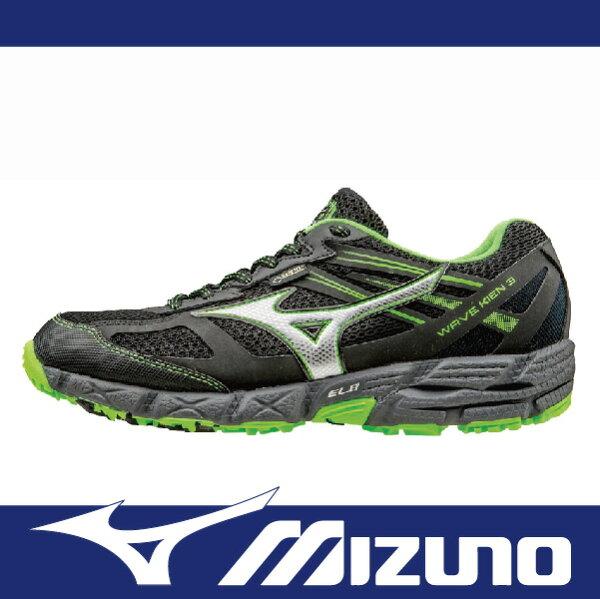 萬特戶外運動 MIZUNO J1GJ165903 男慢跑鞋 WAVE KIEN 3 GORE-TEX 防水 越野跑鞋 黑綠色