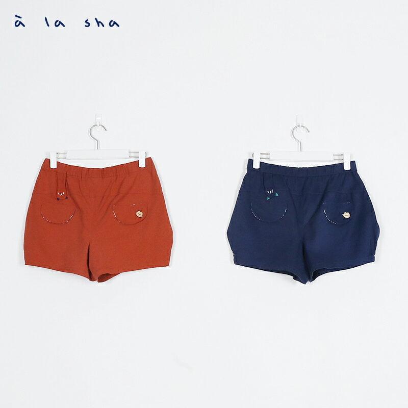 a la sha Qummi Q咪剪接口袋繡花短褲 3